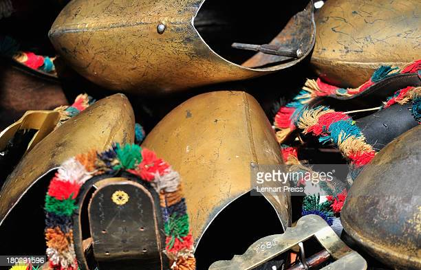 Cowbells are pictured during the annual Viehscheid cattle drive on September 11 2013 near Bad Hindelang Germany The herders lead the cattle in May or...