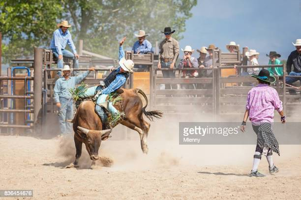 Cowboy American Bull Riding in Rodeo Arena