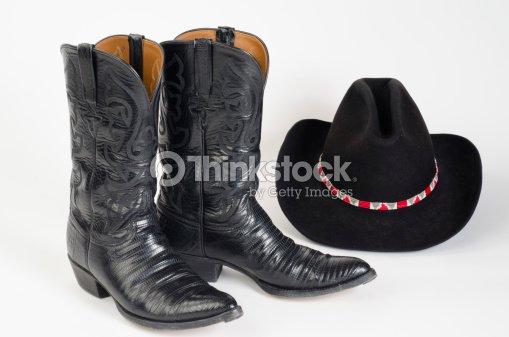 Botas de vaquero Stetson de sombrero negro.   Foto de stock 28fcecfa792