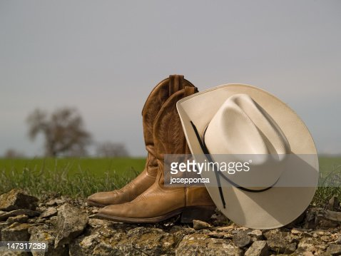 Cowboy boots&hat and tree
