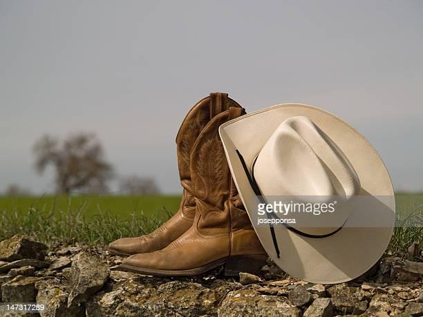 Des bottes de Cowboy Chapeau & et arbre