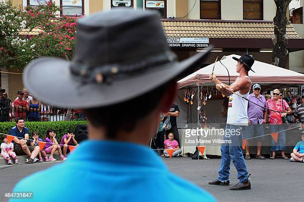 A cowboy entertains the crowd by cracking a stockwhip during the 42nd Tamworth Coutry Music Festival on January 24 2014 in Tamworth Australia The...