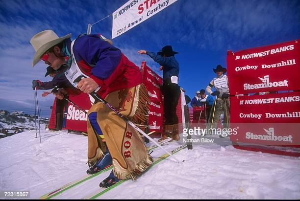 A cowboy exits the starters gate during the Cowboy Downhill Competition in Steamboat Springs Colorado Mandatory Credit Nathan Bilow/Allsport