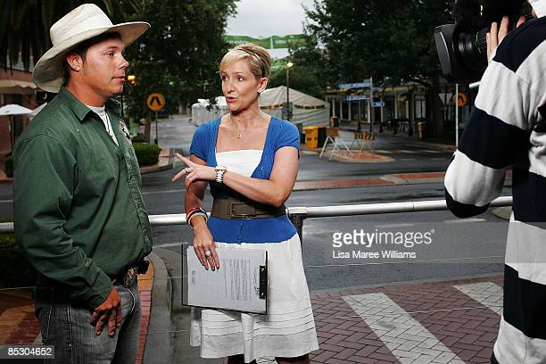 US cowboy Ezra Cooley pictured during an interview with Channel 7's Fifi Box on Peel Street at the Tamworth Country Music Festival on January 22 2009...