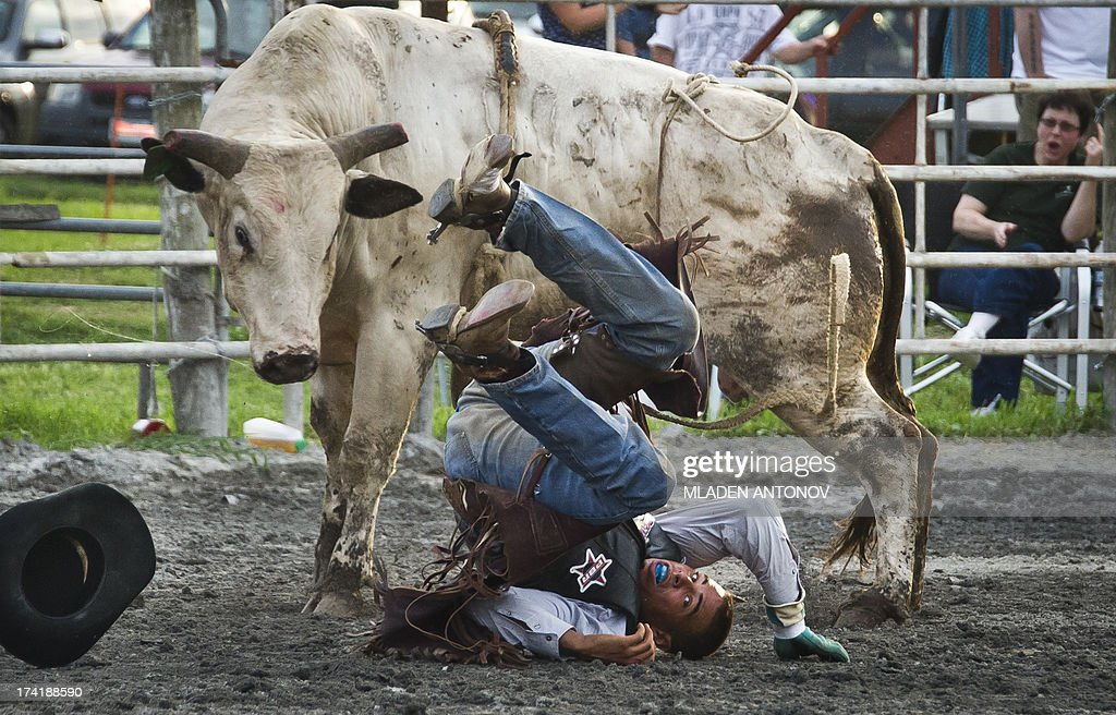 A cowboy falls from the bull during the 'Battle of the Beast' bull riding competition at J Bar W ranch in Union Bridge, Maryland, on July 20, 2013. Professional bull riding is one of the most dangerous, fastest growing extreme spectator sport going across America.