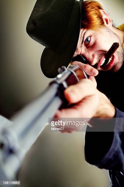 Cowboy Man Holding Rifle and Smoking Cigar
