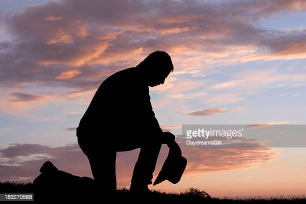 Cowboy Prayer Sunset Silhouette