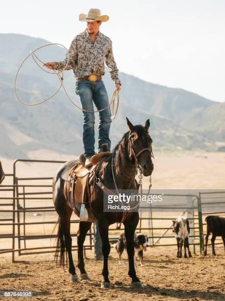 Cowboy Rancher avec un Lasso