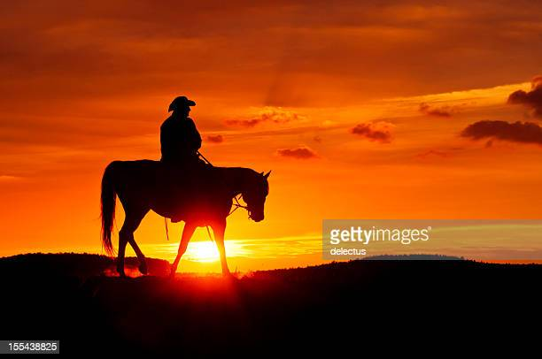 Cowboy rides during the sunset