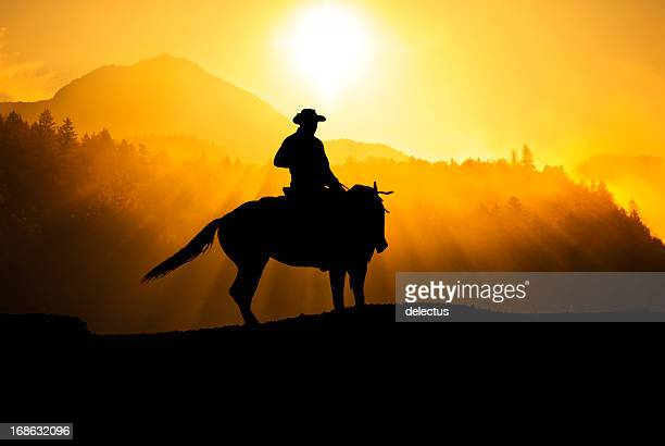 Cowboy riding in the mountains