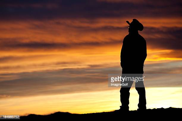 Cowboy Silhouette at the Ranch