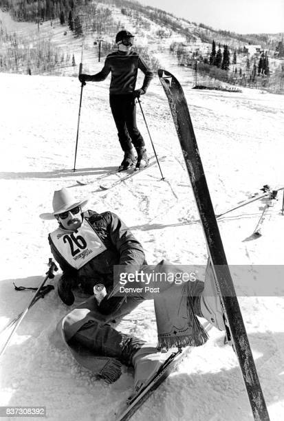 Cowboy Skiing is not pretty Beer in hand cowboy Dennis Humphry of Cheyenne Wyo kicks back on a slope at Steamboat ski area as a more traditional...