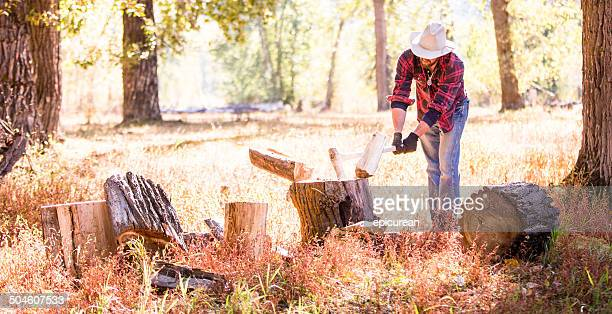 Cowboy schwingt Axt und Schneiden Holz in den Wald Wiese