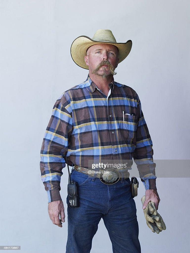 Cowboy worker handlebar moustache