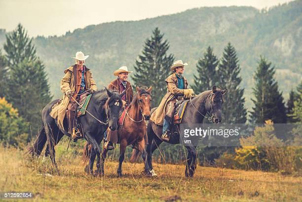 Vaqueira Vaqueiros e cavalos de equitação suas em um Prado