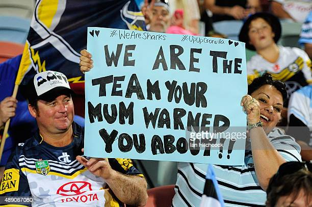 Cowboys and Sharks fans show their support before the start of the Second NRL Semi Final match between the North Queensland Cowboys and the Cronulla...