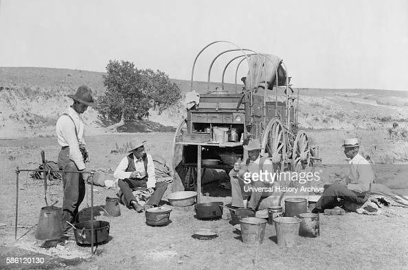 Cowboys and Wagon at Campsite Texas USA circa 1900