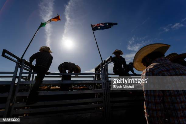 Cowboys are pictured during the Deni Rodeo at the 2017 Deni Ute Muster on September 30 2017 in Deniliquin Australia The annual Deniliquin Ute Muster...