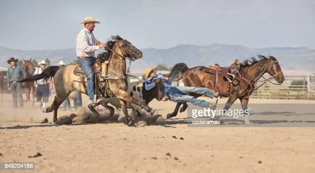 Cowboys chasing Bull at rodeo riding action in Utah, USA