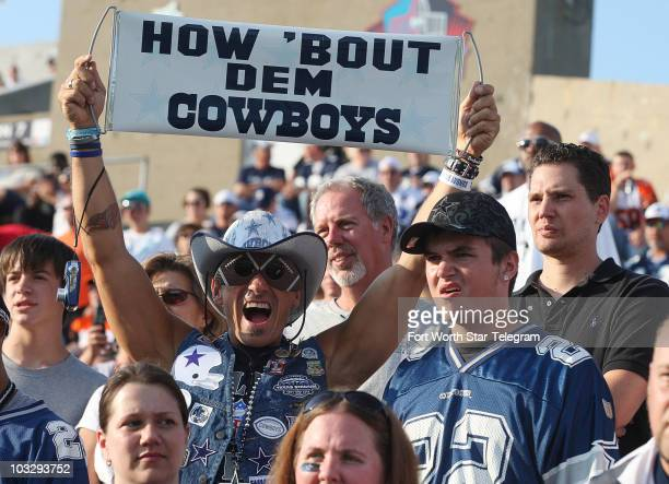 A Cowboys fan shows his support for Dallas who faced the Cincinnati Bengals during the annual Hall of Fame football game in Canton Ohio Sunday August...