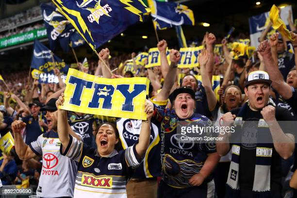 Cowboys fans celebrate a try during the NRL Preliminary Final match between the Sydney Roosters and the North Queensland Cowboys at Allianz Stadium...