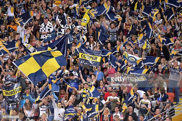 Cowboys fans show their support during the NRL Qualifying Final match between the Brisbane Broncos and the North Queensland Cowboys at Suncorp...