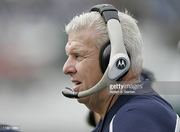 Cowboys head coach Bill Parcells on the sidelines during the first half as the Oakland Raiders defeated the Dallas Cowboys by a score of 19 to 13 at...