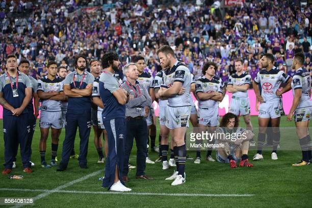 Cowboys head coach Paul Green Gavin Cooper of the Cowboys and Jonathan Thurston talk after defeat in the 2017 NRL Grand Final match between the...