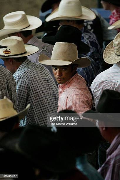 Cowboys line up near the shoots during the ABCRA National Rodeo Finals on January 22 2010 in Tamworth Australia The National Rodeo is held in...