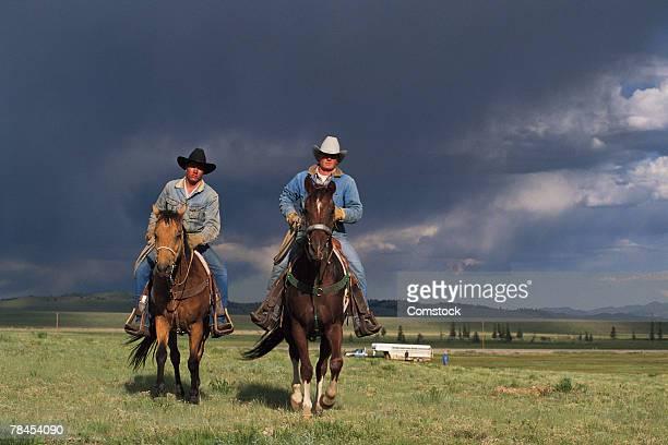 Cowboys on horseback near Fairplay, Colorado