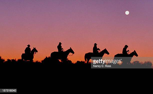 Cowboys on Horseback Ride Ridge, Dawn, Silhouette, Americana, Sunrise