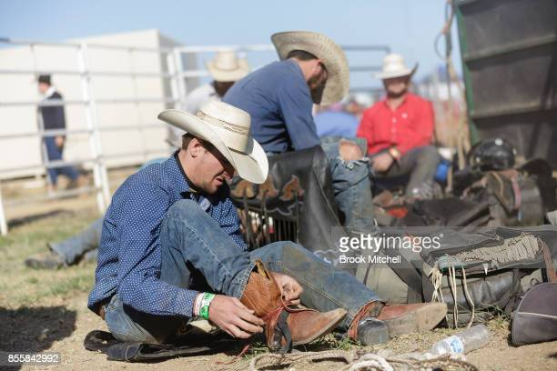 Cowboys prepare backstage for their turn in the Deni Rodeo at the 2017 Deni Ute Muster on September 30 2017 in Deniliquin Australia The annual...