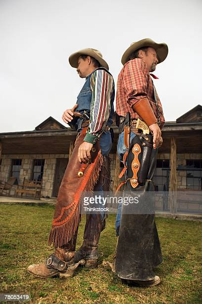 Cowboys preparing for gunfight