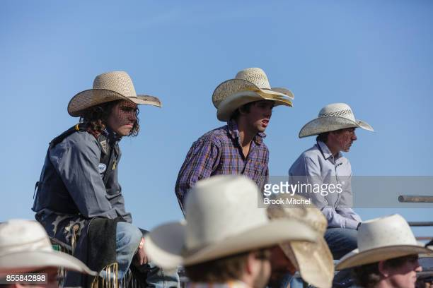 Cowboys wait their turn to ride at the Deni Rodeo during the 2017 Deni Ute Muster on September 30 2017 in Deniliquin Australia The annual Deniliquin...