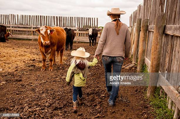 Cowgirl and daughter walk through cow paddock