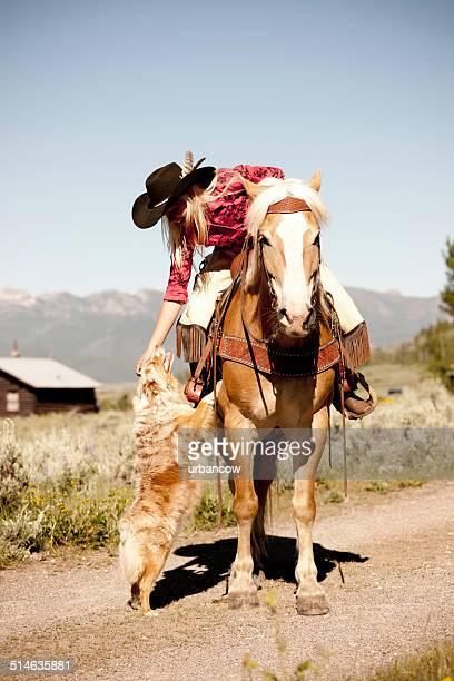 Cowgirl und Hund, Montana