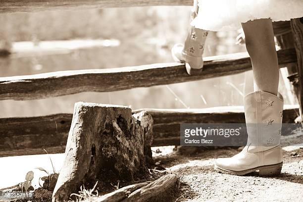 Cowgirl on fence