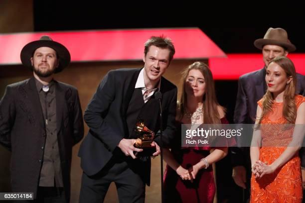 Cowinnders of the Best Bluegrass Album musicians Geoff Saunders Forrest O'Connor Kate Lee Joe Smart and Matty O'Connor of the O'Connor Band at the...