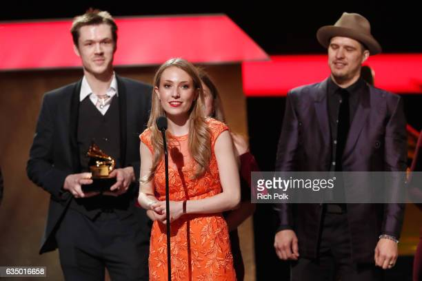 Cowinners of the Best Bluegrass Album musicians Forrest O'Connor Matty O'Connor and Joe Smart of the O'Connor Band With Kate Lee Mark O'Connor at the...