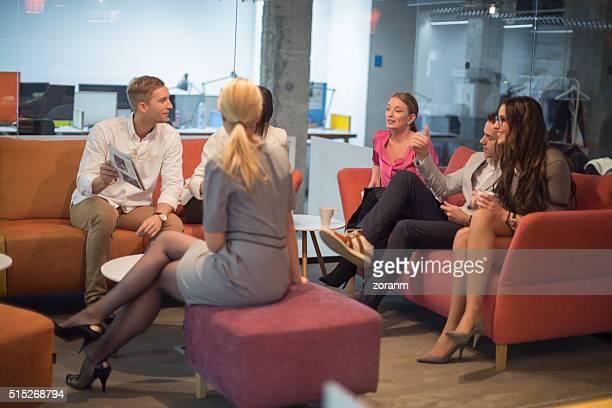 Coworkers socializing on break