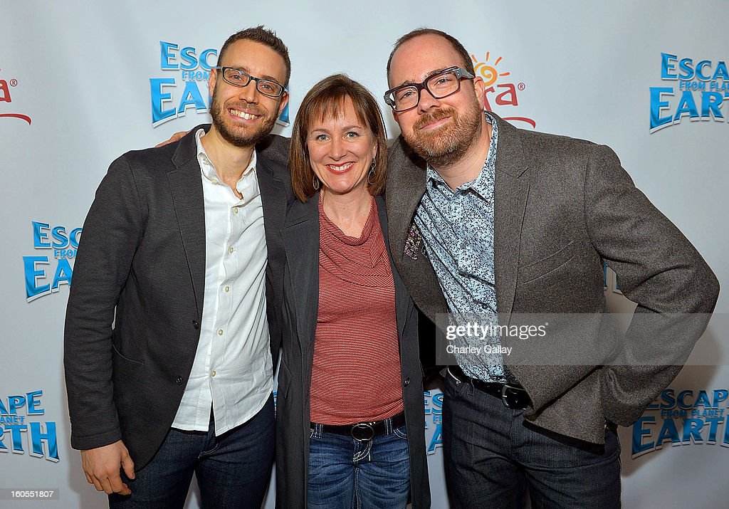 Co-Writer Bob Barlen, Producer Catherine Winder and director Cal Brunker attend the 'Escape From Planet Earth' premiere presented by The Weinstein Company in partnership with Sabra at Mann Chinese 6 on February 2, 2013 in Los Angeles, California.