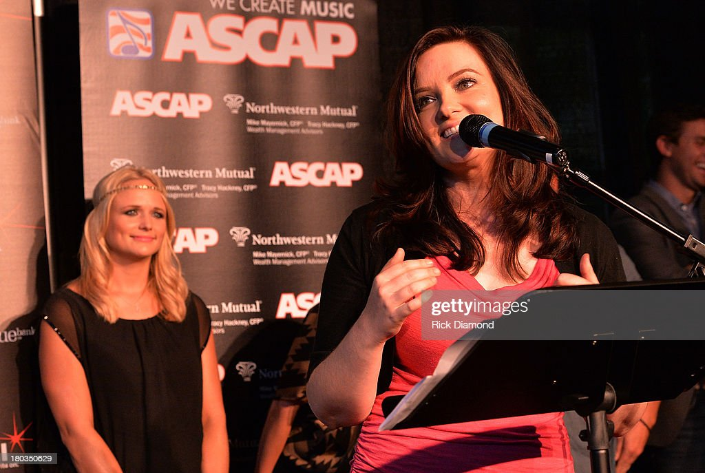 Co-Writer Brandy Clark addresses the invited guests and media during the Celebration of <a gi-track='captionPersonalityLinkClicked' href=/galleries/search?phrase=Miranda+Lambert&family=editorial&specificpeople=571972 ng-click='$event.stopPropagation()'>Miranda Lambert</a>'s No.1 Song 'Mama's Broken Heart' with co writers Kacey Musgraves, Brandy Clark and Shane McAnally performed by <a gi-track='captionPersonalityLinkClicked' href=/galleries/search?phrase=Miranda+Lambert&family=editorial&specificpeople=571972 ng-click='$event.stopPropagation()'>Miranda Lambert</a> at Cabana on September 11, 2013 in Nashville, Tennessee.