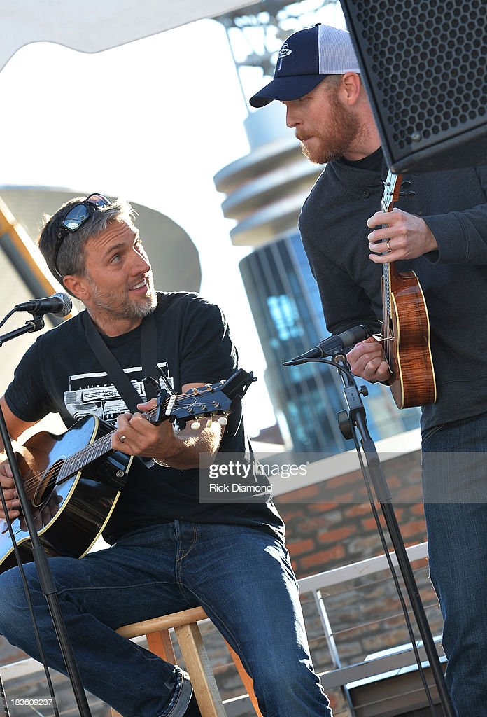 Co-writer Brett Warren with producer Nathan Chapman perform as Keith Urban, BMI & ASCAP Celebrate the No. 1 Song 'Little Bit Of Everything' at Aerial In Nashville on October 7, 2013 in Nashville, United States.