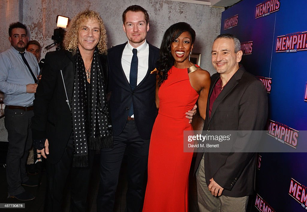 Co-Writer <a gi-track='captionPersonalityLinkClicked' href=/galleries/search?phrase=David+Bryan&family=editorial&specificpeople=211281 ng-click='$event.stopPropagation()'>David Bryan</a>, cast members Killian Donnelly, <a gi-track='captionPersonalityLinkClicked' href=/galleries/search?phrase=Beverley+Knight&family=editorial&specificpeople=204569 ng-click='$event.stopPropagation()'>Beverley Knight</a> and co-writer <a gi-track='captionPersonalityLinkClicked' href=/galleries/search?phrase=Joe+DiPietro&family=editorial&specificpeople=2499309 ng-click='$event.stopPropagation()'>Joe DiPietro</a> attend the press night performance of 'Memphis The Musical' at The Floridita on October 23, 2014 in London, England.