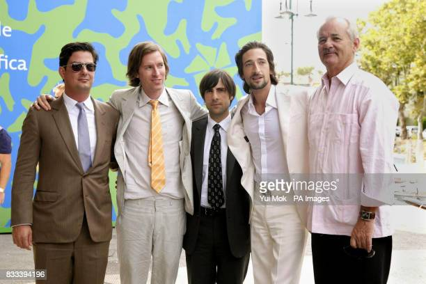 cowriter Roman Coppola director Wes Anderson Jason Schwartzman Adrien Brody and Bill Murray attend a photocall for the film 'The Darjeeling Limited'...