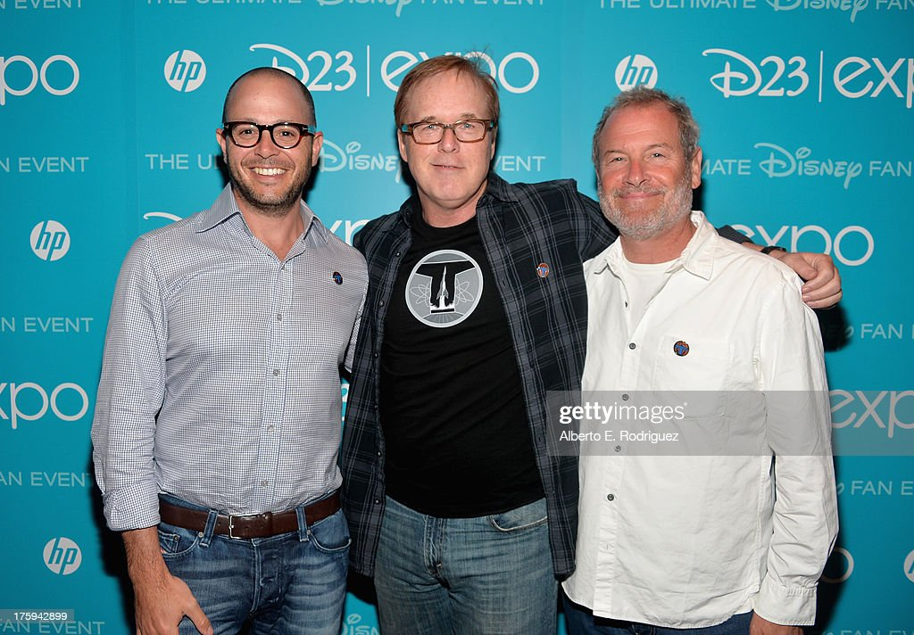 Co-writer/producer <a gi-track='captionPersonalityLinkClicked' href=/galleries/search?phrase=Damon+Lindelof&family=editorial&specificpeople=582642 ng-click='$event.stopPropagation()'>Damon Lindelof</a>, Director/co-writer/producer Brad Bird and executive producer Jeffrey Chernov of 'Tomorrowland' attend 'Let the Adventures Begin: Live Action at The Walt Disney Studios' presentation at Disney's D23 Expo held at the Anaheim Convention Center on August 10, 2013 in Anaheim, California.