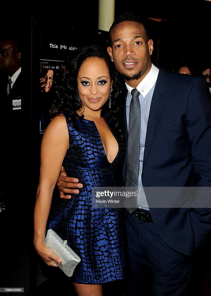 Co-writer/producer/actor Marlon Wayans (L) and actress Essence Atkins arrive at the premiere of Open Road Films' 'A Haunted House' at the Arclight Theatre on January 3, 2013 in Los Angeles, California.