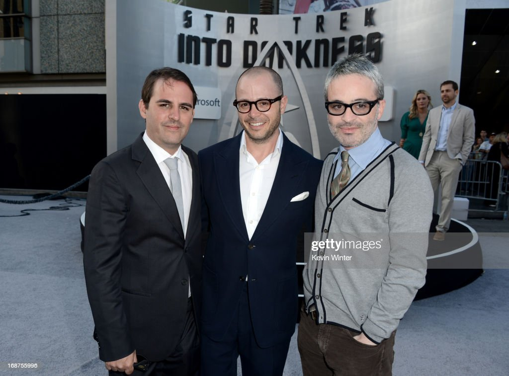 Co-Writers/Producers Roberto Orci, <a gi-track='captionPersonalityLinkClicked' href=/galleries/search?phrase=Damon+Lindelof&family=editorial&specificpeople=582642 ng-click='$event.stopPropagation()'>Damon Lindelof</a> and Alex Kurtzman arrive at the Premiere of Paramount Pictures' 'Star Trek Into Darkness' at Dolby Theatre on May 14, 2013 in Hollywood, California.
