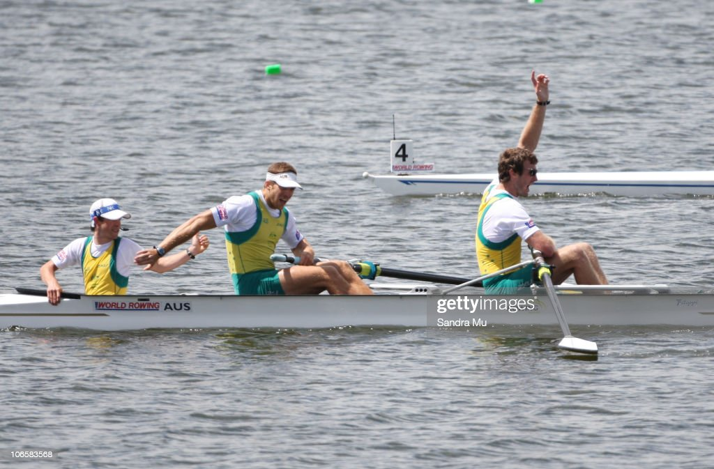 Cox David Webster Christopher Morgan and Dominic Grimm of Australia celebrate gold in the Men's Coxed Pair Final during day seven of the World Rowing...