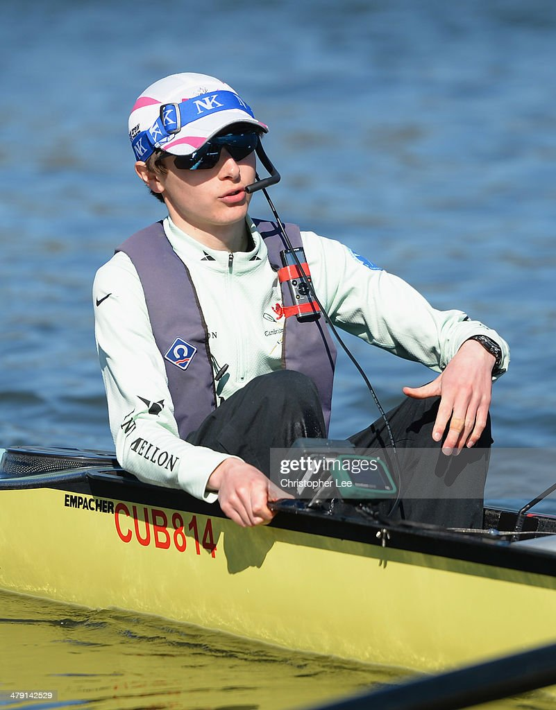 Cox Ian Middleton of Cambridge University during the Cambridge Boat Club fixture as they race against Molesey BC on the River Thames on March 16 2014...